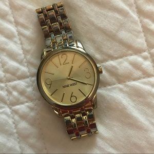 Nine West Goldtone Bracelet Watch with Sunray Dial
